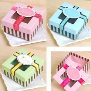 Square Paper Gift Box with Clear Window /Ribbon /Tag pictures & photos