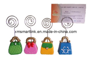 Lady′s Handbag Shape Name Card Holder, Business Card Clip pictures & photos