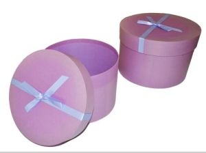 High Quality Christmas Ribbon Bow Pink Round Gift Box