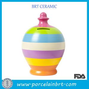 Strip Rainbow Color Ceramic Piggy Bank Coin Money Pot pictures & photos