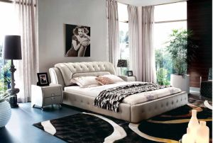 2014 Hot Selling Modern Soft Italian Leather Bed 673#