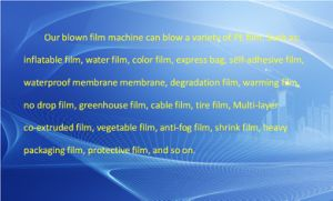 Special Production of Composite Film, Shrink Film Three Layer Co-Extrusion Horizontal Haul off Oscillating Rotary Film Blowing Machine pictures & photos