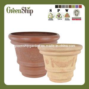 Eco-Friendly Plastic Decorative Big Round Flower Pot--Green Ship