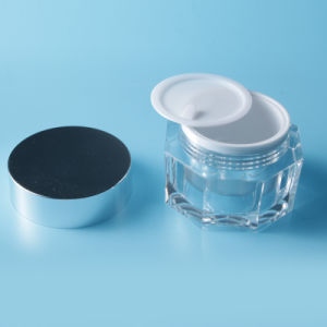 High Quality Clear Acrylic Cream Jar with Aluminum Cap pictures & photos