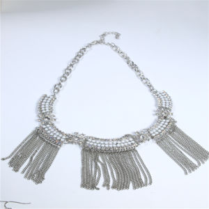 New Design Resin Acrylic Beads Steel Chain Tassel Earring Bracelet Necklace Jewelry Set pictures & photos