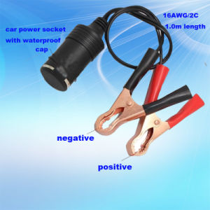Large Power Car Cigarette Lighter Socket with Alligator Clip and Waterproof Cap pictures & photos