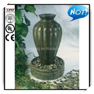 34 Inches Water Self-Contained Rust Fibercement Fluted Urn Fountain (YF2143AG-34H-L1119)