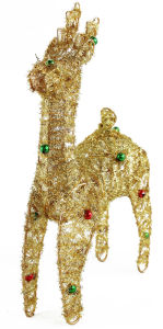 Christmas Decoration Wired for Gold Deer