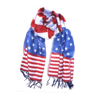 Fashion American Flag Acrylic Silk Pashmina Scarf pictures & photos