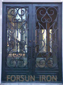 Ornamental Wrought Iron Door with Openable Glass Windows pictures & photos