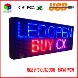 """P13 Fully Outdoor 15′′x 40"""" Full Color Programmable LED Sign Text Scrolling Message Board Display for Window pictures & photos"""