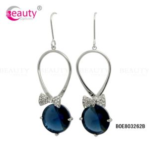 2015 Fashion Blue Crystal Earring with Bowknot