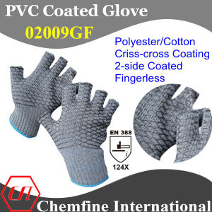 10g Gray Polyester/Cotton Knitted Fingerless Glove with 2-Side Black PVC Criss-Cross Coating/ En388: 124X pictures & photos