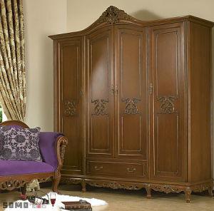 China Ritz Bedroom Furniture Sliding Door Coffee Color Solid Wood ...