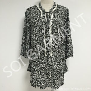 Long Style Rayon Print Lace Blouse with String (BL-163)