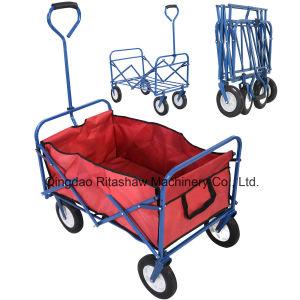 Folding Wagon Cart Garden Shopping Beach Blue Frame pictures & photos