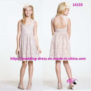 Lovely Nice Pure Flower Girl Dress with Leak Back pictures & photos