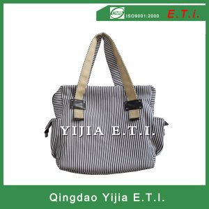 Striped Cotton Canvas Handle Bag for Shopping pictures & photos