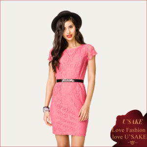 Elegant New Pink Embroidered Lace Dress with Waist Belt (S304097)