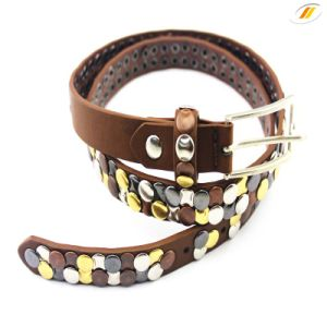 Fashion Leather Belt with Sheet Metal Rivet Belt pictures & photos