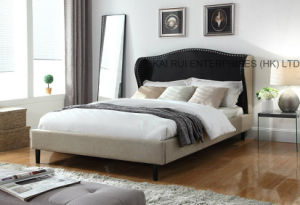 Two-Tone Fabric Wooden Modern Home Hotel Furniture Bedroom Bed
