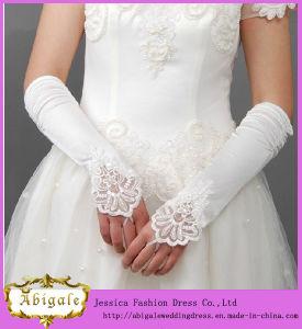 Fashionable Medium Length Satin Fingerless Wedding Hand Gloves (MI 3565)