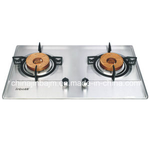 2 Burner Gloden Brass Burner Cap Built-in Gas Stove pictures & photos