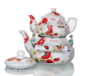 2.0+0.85L Enamel Teapot with Decal pictures & photos