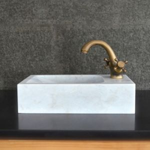 Rectangular Natural Stone White Marble Wash-Hands Basin pictures & photos