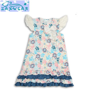Zaxwear Own Design Elegant Beautiful Flower Pattern Long Girl Dresses pictures & photos