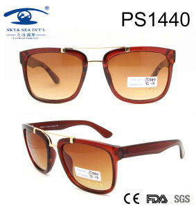 2017 Square Shape Shiny Brown PC Sunglasses (PS1440) pictures & photos