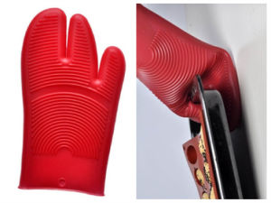 Silicone Hot Kitchen Pot Holder Glove Oven Mit (EB-93256-2) pictures & photos