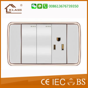 White PC Double 3pole Wall Switch Socket pictures & photos