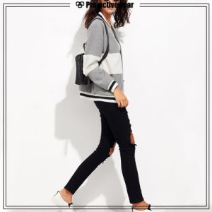 Top Quality Grey Women Sports Running Casual Jackets with Panel pictures & photos