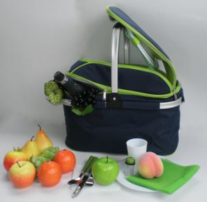 Collapsible Picnic Baskewith Dinnerware T Pcinc Hanper with Cooler Bag pictures & photos