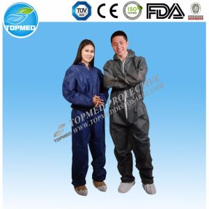 Disposable Waterproof PP+PE Dark Blue Coverall pictures & photos