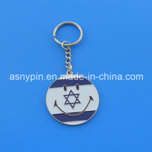 Round Cute Smile Theme Israel Flag Design Metal Key Chain Souvenir for Israel pictures & photos