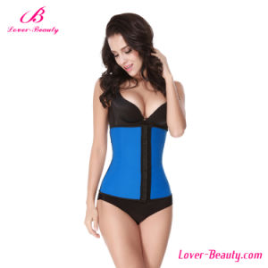 Sexy Eye Hook Blue Latex Steel Boned Corset pictures & photos
