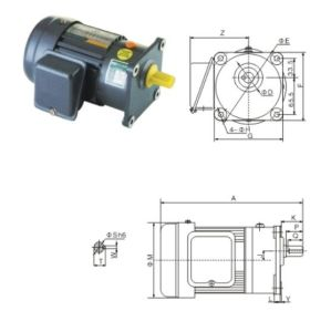 Horizonal 1# Gearbox with Shaft Dia 18mm with 1-Phase Motor pictures & photos
