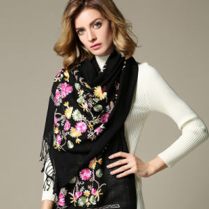 Black Embroidered Wool Scarf for Women pictures & photos