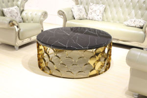 Golden Stainless Steel Base Round Coffee Table with Marble Top pictures & photos