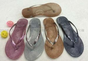 Custom Casual Fashion PVC Paillette Women Slippers Flip Flop pictures & photos