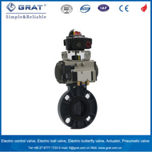 Wafer Type Plastic Butterfly Valve with Pneumatic Driver pictures & photos