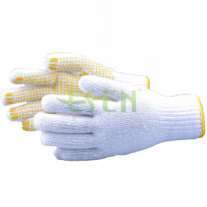 Good Quality Cotton Industrial Work Gloves with Pink PVC Yellow Dots pictures & photos