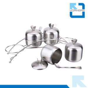 4 Pieces Stainless Steel Salt Pepper Set Condiment Spice Jar pictures & photos