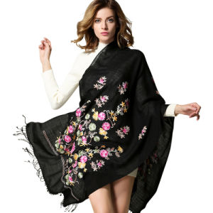 Black Embroidered Wool Scarf for Women