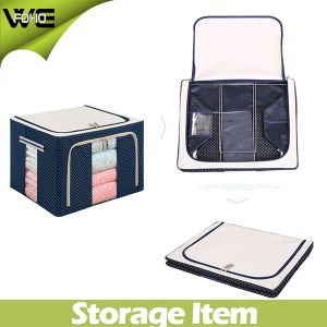 Container Organizer See-Through Window Double Zipper Fabric Covered Storage Boxes pictures & photos