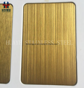 Gold Hairline Stainless Steel Colored Sheet Metal Plate for Interior Decoration pictures & photos
