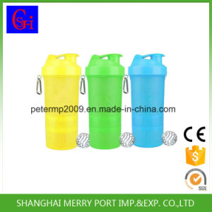 PP Plastic Leak-Proof Shaker Bottle with 2 Containers pictures & photos