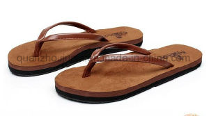 OEM Logo Fashion TPR Leather Man Slippers Flip Flop pictures & photos